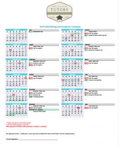 Valencia Tutors Billing calendar for School year 2019 - 2020