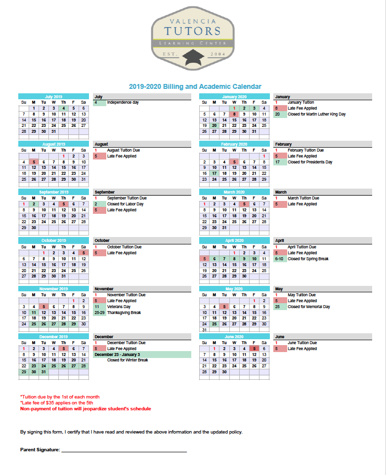 Valencia Tutors Billing calendar for School year 2019 - 2020
